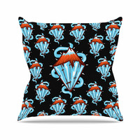 "BarmalisiRTB ""Diamond Mountain"" Orange Blue Outdoor Throw Pillow"