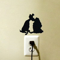 Lady and the Tramp Fabric Decal - Disney Laptop Sticker - Dogs Wall Decal - Nursery Wall Decor
