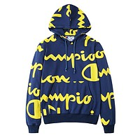 Champion Fashion Women Men Print Long Sleeve Pullover Sweater Hoodies Top Blue