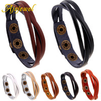 Ajojewel Cheap Promotion 5 Colors Cheap Handmade Thin Braided Leather Bracelet Wristband For Men And Women