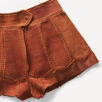 Free People Vintage 1970s Suede Patchwork Shorts