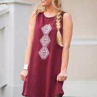 Send You My Love Dress, Burgundy