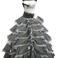 A-line Strapless Floor-length White and Black Organza Wedding Dresses/Bridal Gowns