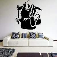 Banksy Vinyl Wall Decal Death With Happy Smile Face / Creature with Braid Graffiti Street Art Decor Sticker Mural + Free Random Decal Gift!