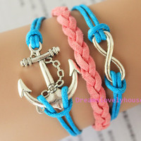 Graduation Gift, Antique Silvery Anchor Infinity Charm, Pink Leather, Blue Cords, Silvery Jewelry, Charm Bracelet, Personalized  C-15