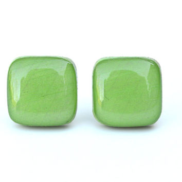 Green earrings - green square studs - green studs - green square post earrings earrings wood earrings eco friendly unique for her