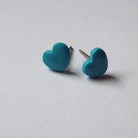 Tiny Blue Heart Stud Clay Earrings Simple Ear Studs