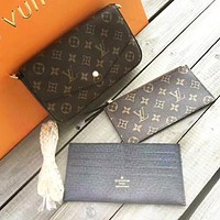 LV Hot Sale Stylish Women Shopping Monogram Leather Shoulder Bag Crossbody Purse Wallet Set Three Piece (Black internal)
