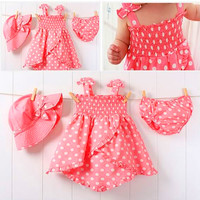 Kids Baby Girl Pink Dot 3pcs Dress+Pants+Hat Set Outfit Costume Clothes 0-36M