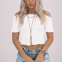 Of My Dreams White Short Sleeve Crop Top