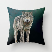 WOLF: THE SILVER HUNTER Throw Pillow by Rebecca Allen