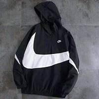 NIKE Tide brand big hook LOGO half zip jacket windbreaker black