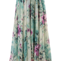 Floral and Frill Maxi Skirt Green