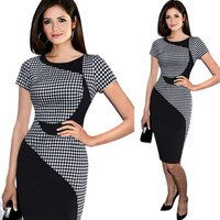 Short Sleeve Business Casual Cocktail  Patchwork  Dress