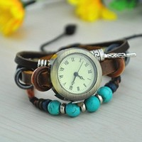 Vintage Style Leather Belt Watch with Turquoise Beads FHTD001