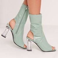 Missguided - Patent Peep Toe Perspex Block Heel Ankle Boots Green