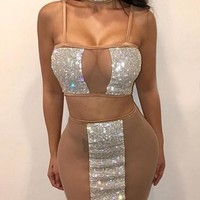 Apricot Patchwork Rhinestone Grenadine Sparkly Spaghetti Strap Two Piece Clubwear Party Midi Dress