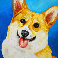 Corgi Dog Print of Original Painting Wall Art Home Decor Picture 8x10 or 11x14