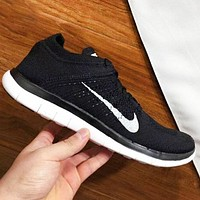 Nike Free Rn Flyknit Fashion New Hook Print Men Sports Leisure Shoes Black
