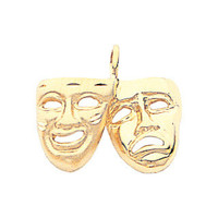 14K Yellow Gold Theater Pendant, Theater Pendant, Theatre, Theater Jewelry, Comedy Jewelry, Tragic Jewelry, Mask Jewelry, Drama Jewelry