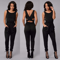 Black Cut-Out Sleeveless Jumpsuit