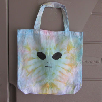 Kids Trippy Alien Tie Dyed Small Tote Bag Perfecrt for Trick or Treating