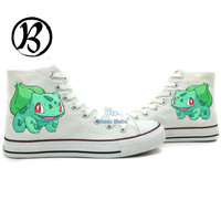High Top Bulbasaur Painted Shoes Custom Shoes Birthday Hand Painted Art Frog Pokemon Shoes