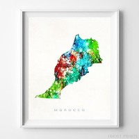 Morocco Watercolor Map Wall Art Home Decor Poster Artwork Gift Print UNFRAMED by Inkist Prints