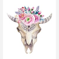 Boho Cow Skull Tribal Watercolor Nursery Wall Art Print - Multiple Sizes