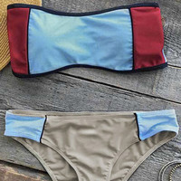 Cupshe Summer Dreams Color Block Bikini Set