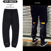 Boys & Men Off-White Casual Pants Trousers