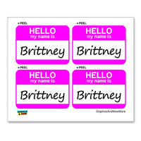 Brittney Hello My Name Is - Sheet of 4 Stickers