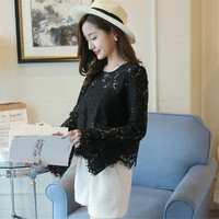 New  Female Fashion Korea Style Lace Blouses Slim Shirt woman Blouse Full Speaker Sleeves Tops With Wrapped Chest 72480 GS