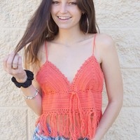 """Coral Girl"" Crochet Top"