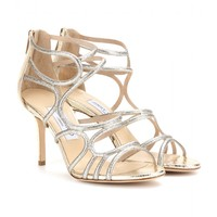 mytheresa.com - Summit glitter and metallic-leather sandals - Luxury Fashion for Women / Designer clothing, shoes, bags
