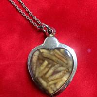 Love Letters to the Dead - Preserved maggot filled heart pendant -  taxidermy, oddity