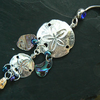 double sand dollar belly ring abalone seashells