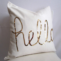18 inch throw pillow cover, Hello Sequins in Shiny Gold. Natural cotton White color, With zipper, for indoor use. Square
