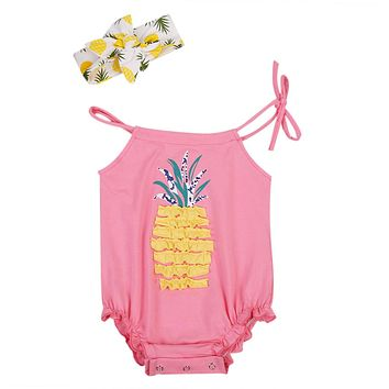 2Pcs Pineapple born Baby Girl Lace Belt Jumpsuit Sleeveless Romper Outfit Clothes Headband