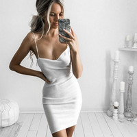 The new autumn and winter sleeveless dress sexy Slim straps knit skirt female