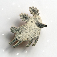 Little White Dog Brooch - Print On Birch Plywood - Laser Cut - Lovely Gift for Dog Lovers