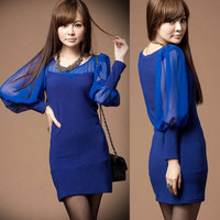 Charming Womens Puff Sleeve Patchwork See-through Chiffon Mini Dress Clubwear