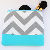 Gray Chevron bright blue zipper pouch, cosmetic case, organizer, makeup bag
