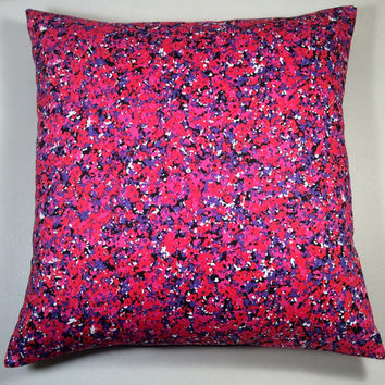 """Handmade Pillow Cover 14"""" x 14"""" - Multi Color, Red, White, Black, Pink & Purple with Black Twill - READY TO SHIP!"""