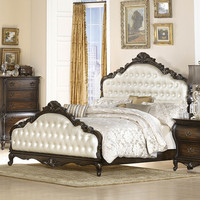 Homelegance Bayard Park Panel Bed w/ Pearl Button-Tufted Headboard in Dark Brown Cherry