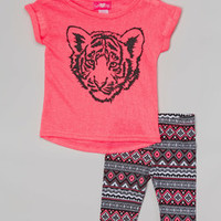 Fuchsia Burnout Tiger Tunic & Tribal Shorts - Infant & Toddler | zulily