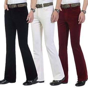 Autumn Men's commercial casual pants corduroy Flares trousers male elastic bell-bottom trousers