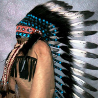 Black and White Native American Costume, Indian Headdress, Chief Indian Hat, Feather Warbonnet, Tribal Headdress, Costumes, Décor