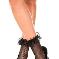 Fishnet Ankle Socks with Ruffle Trim