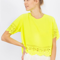 Neon Yellow Cut-Out Top